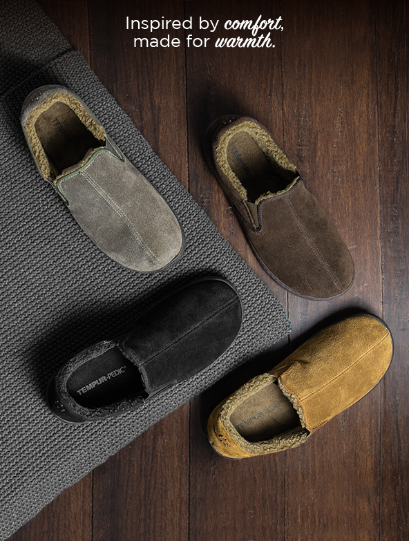 Tempur-Pedic Mens Jadin Slipper shown in different colors .